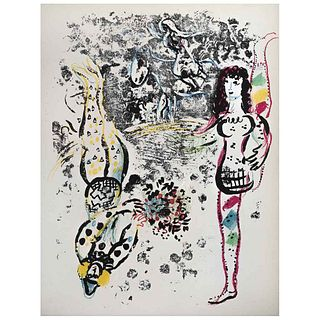 """MARC CHAGALL, Acrobatics, 1963, Unsigned, Lithography without print number, 12.5 x 9.4"""" (32 x 24 cm)"""