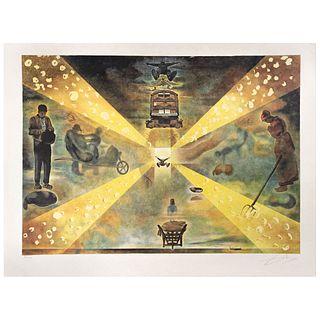 "SALVADOR DALÍ, La gare de Perpignan, Signed in pencil, Lithography on Japanese paper 216 / 300, 20.4 x 28.7"" (52 x 73 cm)"