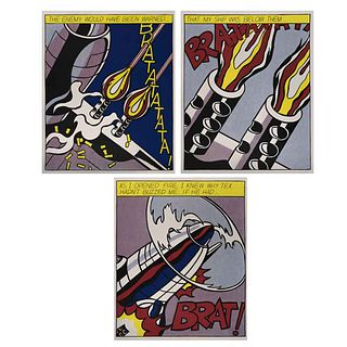 "ROY LICHTENSTEIN, As l opened fire, 1966, Unsigned, Serigraphs without print number, Triptych, Print of 3000, 24 x 19.6"" (61 x 50 cm) each, Pieces: 3"