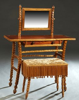 American Carved Pine Tramp Art Vanity and Bench, early 20th c., the vanity with a swivel mirror on a base with a frieze drawer on carved splayed legs