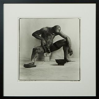"George Dureau (1930-2014, New Orleans), ""Emmett Johnson Painting,"" 1985, vintage silver gelatin photograph, signed and dated lower right, titled and n"