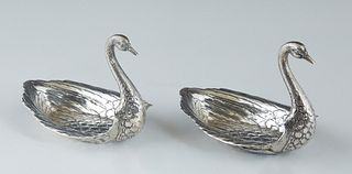 Pair of Gorham Durgin Sterling Swan Salts, 20th c., # 34, hallmarked and numbered on the underside, H.- 2 3/4 in., W.- 2 1/2 in., D.- 3 3/4 in., Wt.-