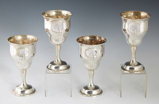 "Set of Four Sterling Goblets, by Gorham, #1033, in the ""Chantilly"" pattern , H.- 6 1/2 in., Dia.- 3 3/8 in., Wt.- 24.65 Troy Oz. (4 Pcs.)"