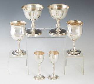 Group of Six Pieces of Sterling SIlver, consisting of two Mexican liqueur stems, H.- 4 1/8 in., Dia.- 1 1/2 in., Wt.- 4.45 Troy Oz.; two dessert stems