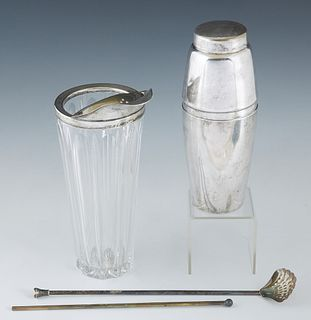Three Vintage Entertaining Items, consisting of a silverplated cocktail shaker by Towle, together with a silverplated and glass mixing glass, and two
