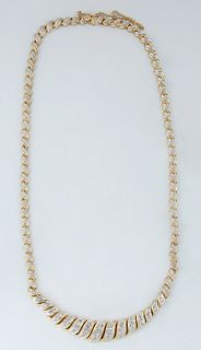 Vintage 14K Yellow Gold Link Necklace, by Leer Gem Ltd. , New York, with 36 yellow gold twisted vertical links with center rows of white gold balls on