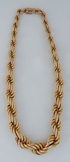 18k Yellow Gold Graduated Twisted Braided Rope Necklace, L.- 16 in., Wt.- 1.95 Troy Oz. Provenance: The Estate of Dr. Sue LeBlanc, Hammond, Louisiana.