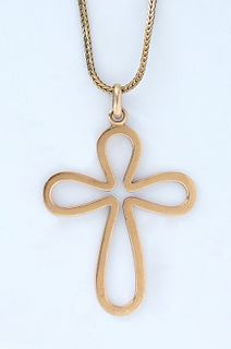Vintage 18K Yellow Gold Open Cross Pendant, on an 18K yellow gold herringbone chain, Cross- H.- 2 in., W.- 1 1/2 in., Chain- H.- 26 in., W.- .76 Troy