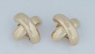 """Vintage Pair of 18K Yellow Gold Clip Earrings, of arched """"X"""" form, H.- 1 in., Dia. - 1 1/4 in., Wt.- .35 Troy Oz. Provenance: The Estate of Dr. Sue Le"""