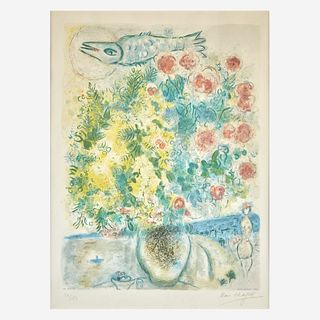 After Marc Chagall (French/Russian, 1887-1985) Roses et Mimosas from Nice et la Côte d'Azur