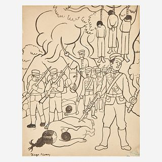 "Diego Rivera (Mexican, 1886-1957) Untitled (Revolution) Illustration for ""Fermin"""