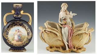 Two Porcelain Items, c. 1900, consisting of an Art Nouveau Royal Dux Figural Planter, the bottom with an applied pink triangle mark and the number 196