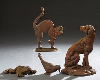 Group of Four Cast Iron Door Stops, 20th/21st c., consisting of a dog, a cat, a frog and a bird, Dog- H.- 12 in., W.- 8 3/4 in., D.- 3 1/4 in. (4 Pcs.