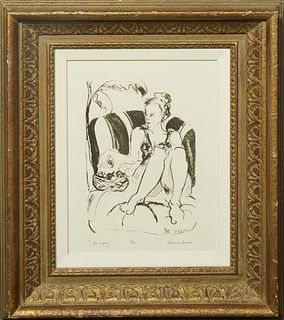 """Katherine Burck, """"Le Repas,"""" 20th c., print, artist proof, pencil signed lower right, pencil titled lower left, and pencil editioned lower middle, pre"""