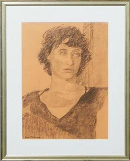 """Lois Osborne, """"Full of Life,"""" 2009, charcoal, signed lower left, presented in a silvered frame, H.- 15 1/4 in., W.- 11 1/2 in."""