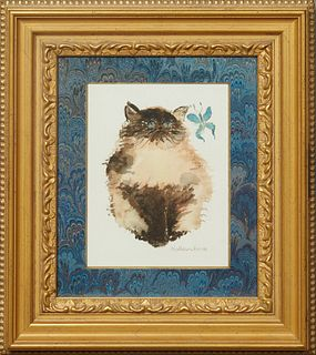 """Katherine Burck, """"Cat and Butterfly,"""" 20th c., watercolor, signed lower right, presented in a gilt and gesso frame with a marbled mat, H.- 8 1/2 in.,"""