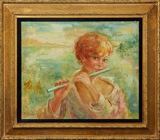 "H. Feidler (American), ""Daybreak,"" 20th c., oil on canvas, signed lower left, presented in a gilt frame, H.- 19 1/8 in., W.- 23 1/4 in., Framed H.- 28"