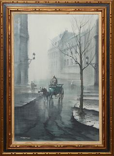 """Jose Luis Campuzano (1918-1979, Spanish/American), """"Carriage in a Foggy Street,"""" 20th c., oil on canvas, signed lower left, presented in a gilt and ge"""