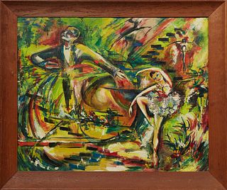 """J. Hague Case, """"Ballerina,"""" 20th c., oil on canvas, signed lower right, presented in a wide oak frame, H.- 24 in., W.- 29 3/4 in."""