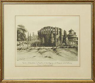 """Antonio Carbonnati (1853-1956), """"Roma- Le Cemeterio, la Basilica di Saint Agnese e la Chiesa di Santa Costaura,"""" 20th c., lithograph, pencil titled lo"""