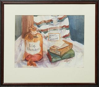 """Nell Tilton, """"Still Life of Apothecary Bottles and Books,"""" 1996, watercolor, signed and dated lower right, presented in a polychromed and ebonized fra"""
