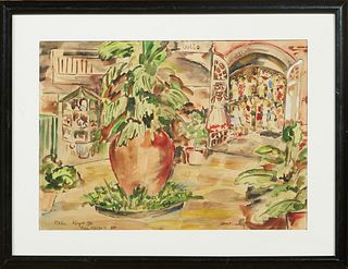 """Janet Crawley (American), """"Patio Royal Street,"""" 20th c., watercolor on paper, signed lower right and titled lower left, presented in a black frame, H."""