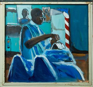 """Wayne Manns (New Orleans), """"Barber Shop,"""" 2017, oil on board, presented in a found material wood frame, signed, titled and dated en verso, H.- 36 in.,"""