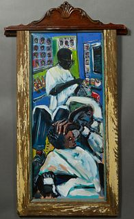 """Wayne Manns (New Orleans), """"Tears, Fears and Barber Shop Chairs,"""" 2017, mixed media, signed upper right, presented in a rescued material frame, signed"""