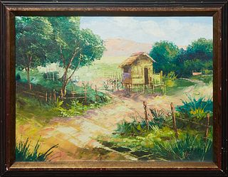 """American School, """"Hut in Landscape,"""" 20th c., oil on canvas, signed indistinctly lower right, presented in a wood frame, H.- 17 1/4 in., W.- 23 1/4 in"""