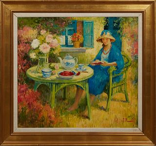 """J. Pauwels (1903-1983, Belgian), """"Table in the Garden,"""" 20th c., oil on canvas, signed lower right, presented in a wide gilt frame with a linen liner,"""