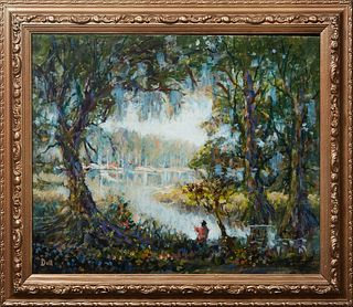 """Frank C. Dill (1910-2000, Texas), """"Louisiana Bayou,"""" 20th c., oil on board, signed lower left, presented in a modern gilt and gesso frame, H.- 19 3/4"""