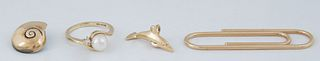 Four Vintage Yellow Gold Items, consisting of an 18K snail charm; an 18K dolphin charm; a 14K pearl ring flanked by a round five point diamond on a by