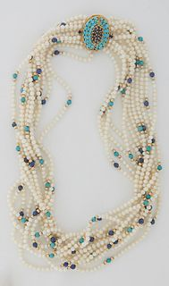 Lady's 13 Strand Pearl Necklace, composed of 2mm cultured seed pearls, and round lapis and turquoise beads bordered by small gold beads, with an 18K y