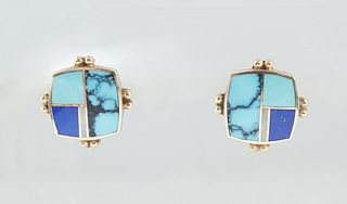 Pair of 14K Yellow Gold Art Deco Style Pierced Earrings, of rounded square form, inset with lapis, turquoise and opal, the frame with two central appl