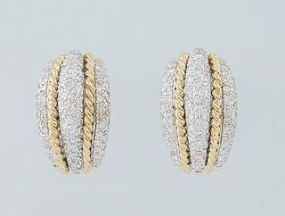 Vintage Pair of 18K White Gold Clip Hoop Earrings, the half hoop with an arched center row of three round diamonds, bordered by twisted gold bands and