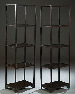 Pair of Chinese Teakwood Etageres, 20th c., with five square open shelves, on reeded square supports, H.- 63 3/4 in., W.- 19 1/4 in., D.- 13 1/4 in.