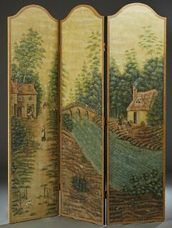 Three Panel Folding Screen, 20th c., by Sarried, Ltd., the arched panels with scenes of colonial life, H.- 84 1/2 in. W. Each Panel- 24 in., Total W.-