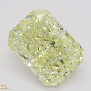 3.56 ct, Natural Fancy Light Yellow Even Color, VS2, Radiant cut Diamond (GIA Graded), Unmounted, Appraised Value: $54,800