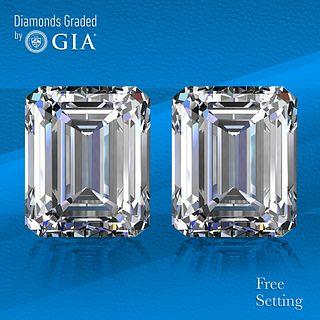 8.02 carat diamond pair Emerald cut Diamond GIA Graded 1) 4.01 ct, Color G, VVS1 2) 4.01 ct, Color G, VVS2. Unmounted. Appraised Value: $452,300