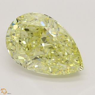 4.06 ct, Natural Fancy Yellow Even Color, IF, Pear cut Diamond (GIA Graded), Unmounted, Appraised Value: $146,100