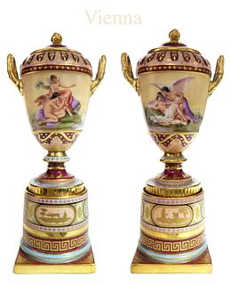 19th C. Pair of Hand Painted Royal Vienna Urns/Vases