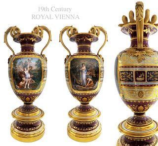 A PAIR OF 19TH C. ROYAL VIENNA PARCEL-GILT VASES