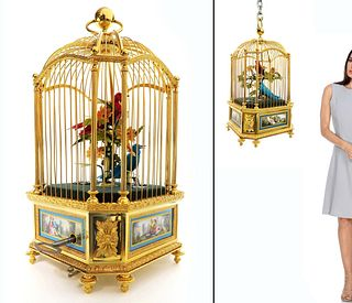 19th C. Sevres Mounted Automaton Bonthems Birdcage