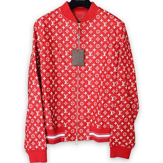 Supreme X Louis Vuitton Red Leather Baseball Jacket