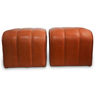 Pair Of Salmon Leather Ottomans