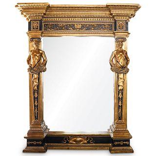 Monumental Renaissance Style Gilt Figural Mirror