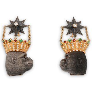 Designer 18k Gold and Precious Stone Gorilla Earrings