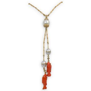 18k Gold, Coral, Pearl and Diamond Necklace