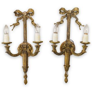 Pair Of French Dore Bronze Sconces