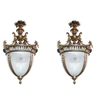 Pair French Dore Bronze & Cut Glass Chandelier